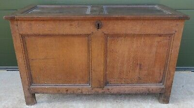 Antique Georgian Oak Coffer Blanket Box Trunk - Needs Some tlc