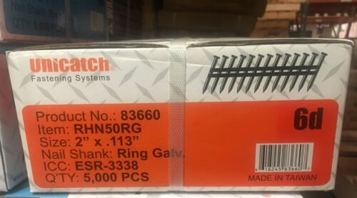 "2"" x .113 RING GALVANIZED 21` Framing Nails 5000/Case Hitachi,DeWalt,Senco,MAX"