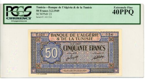 Tunisia ... P-23 ... 50 Francs ... 1949 ... *Ch XF* ... PCGS 40 PPQ