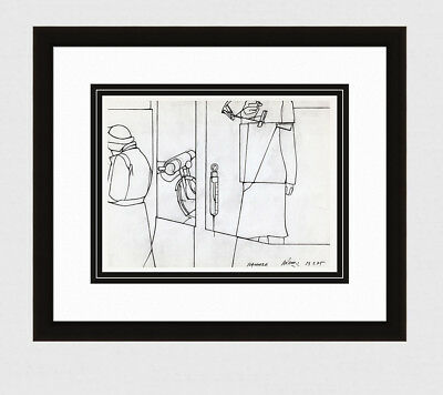 """1975 VALERIO ADAMI SIGNED Antique Print """"Sequence of Life"""" Gallery Framed COA, used for sale  Cape Coral"""
