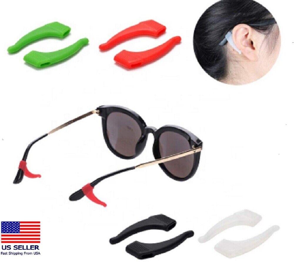 4 Pair Anti Slip Glasses Ear Hooks Tip Eyeglasses Grip Temple Holder Silicone US Eyeglass Straps, Cords & Grips