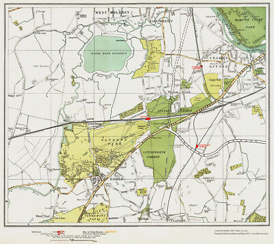 Thames Ditton, Molesey, Esher Map London 1932 #117-118