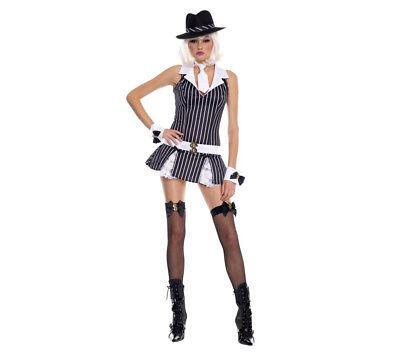 Music Legs Sexy Gangster Girl Women's Mafia Adult Halloween Costume X/S