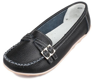 New-Womens-Ladies-Leather-Shoes-Casual-Slip-on-Ballet-Flats-Loafers-Moccasins