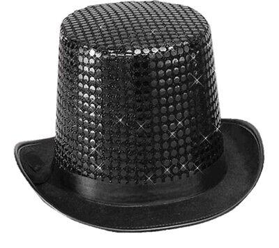 Black Sequin Black Top Hat Dance Costume Accessory Prop Jazz Dura Felt Men Women](Top Hat Prop)