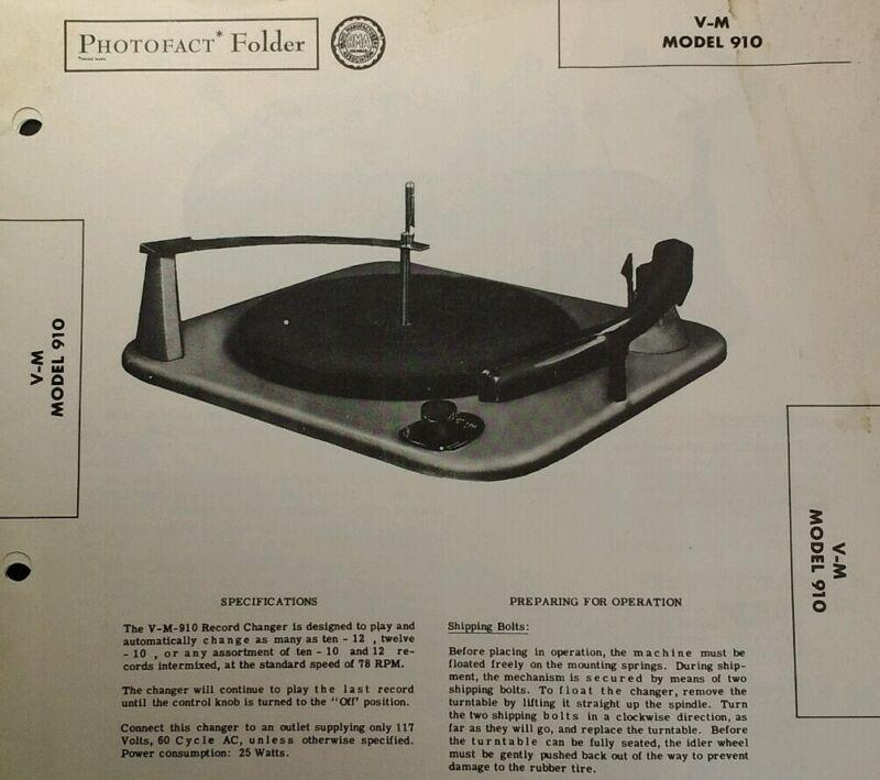 Photofact Folder Sams Tech Info Vtg 1950 V-M Model 910 Record Player