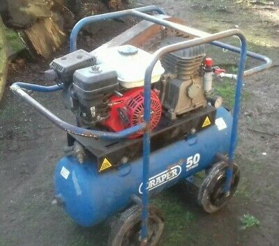 Draper Portable Honda Petrol Engined Air Compressor*50 Litre Tank*On Wheels*4 HP