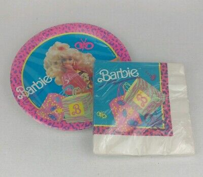 Mattel Barbie Vintage 1990 2 Piece Birthday Party Supplies Reed By Paper Art NEW ()