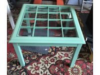 Painted Shabby Chic Upcycled Coffee Table With Glass Top - William Maclean