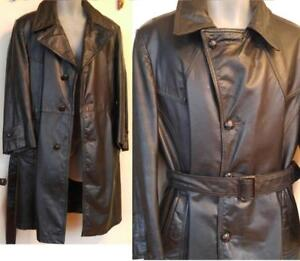 Mens M Black Leather Trench Coat Long COWHIDE 40 Short Retro Goth Vintage MINT Zip Liner Oakville CANADA Spring Jacket