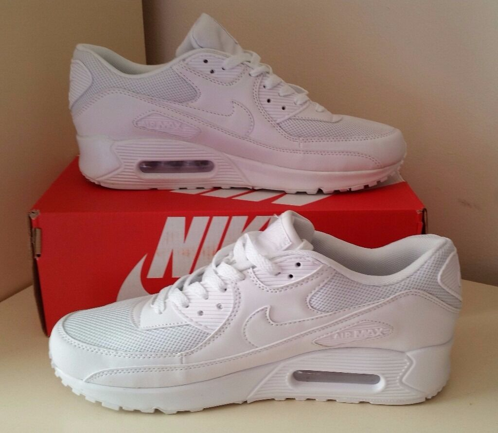 zgxuu New Nike Air Max 90 Essential Running Shoes Trainer - All White