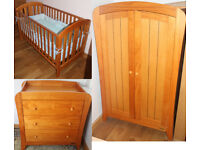 Mamas & Papas Fern suite/nursery furniture (3 piece) wardrobe cot bed & changing table with drawers