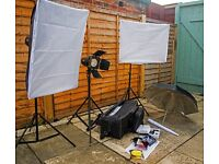 Portable 3-lamp full studio lighting set
