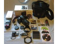 Canon EOS 500D Digital SLR camera with zoom lens, flash gun, tripod, case & accessories