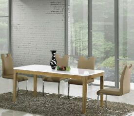 WAS 449 White High Gloss MDF Large Dining Table 4 Chairs