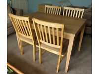Dining Table and Four Chairs all Wood