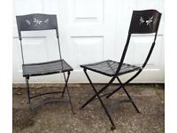 SUPERB QUALITY WROUGHT IRON BISTRO PATIO GARDEN CHAIRS. DRAGONFLY DESIGN. IDEAL FOR PAINTING!