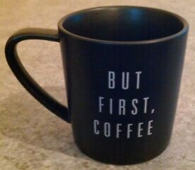 Matt Black 'But First, Coffee' Mug (new)