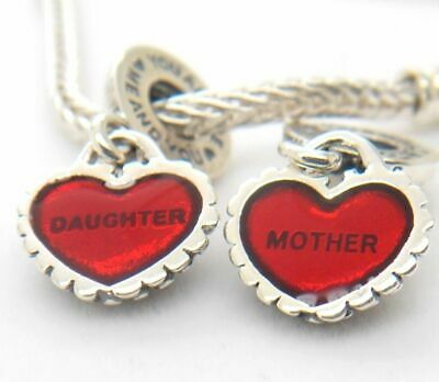 Authentic Silver Pandora Mother Daughter Piece of My Heart Charm Bead 790950EN27