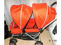 double pram , red safety first tandem ,