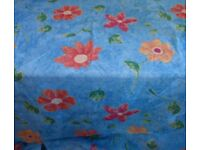 "Voile/Organza Fabric W140cms (55"") 3 x Lengths Flowers With Blue Background"