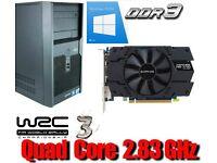 Gaming PC, QUAD CORE 2.83GHz, HD7770 GDDR5 , 320GB HD, Win 10 Pro