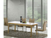 NEW **WAS £449* White High Gloss MDF Large Dining Table & 4 Chairs, can seat 6 Not Glass, Wood Metal
