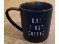 Matt Black 'But First, Coffee' Mug (boxed)