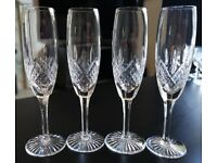 ROYAL SCOT CRYSTAL - Edinburgh Crystal - 4 x Crystal Champagne Glasses