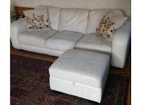 WHITE LEATHER 3 SEATER SOFA WITH MATCHING STORAGE FOOTSTOOL
