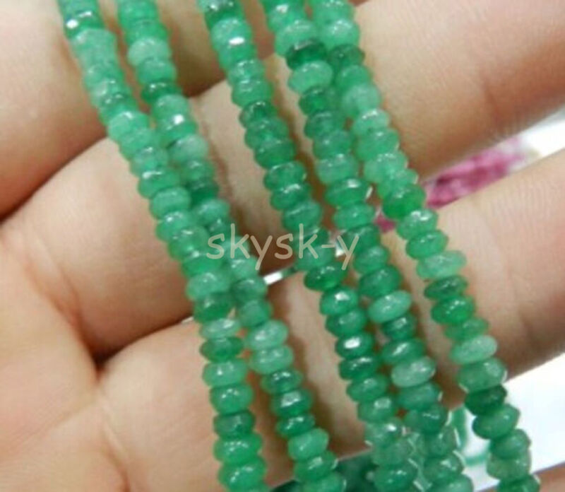 """Fine! 2x4mm Faceted Natural Emerald Abacus Gems Loose Beads 15"""""""