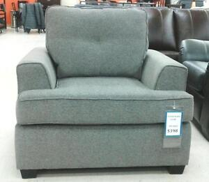 GREY FABRIC CHAIR ON CLEARANCE:FLOOR MODEL: 50% REDUCED PRICE:(AD 158)