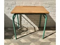 Vintage Industrial Desk Metal Wood School #795