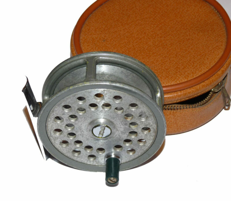 """Farlow The Grenaby 3"""" alloy dry fly reel in good working condition with leath..."""