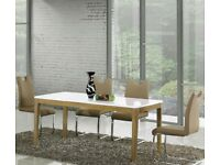 **WAS £449* White High Gloss MDF Large Dining Table & 4 Chairs, can seat 6 Not Glass, Wood Metal