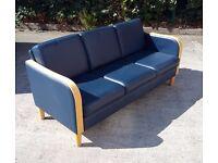 Blue 3 Seat Office Sofa
