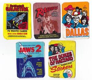 5 MORE BUBBLE GUM WAX WRAPPERS 1978/81 DUKES OF HAZZARD JAWS 2