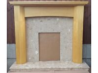 "52"" Natural Oak Mantle c/w Conglomerate Marble Set"