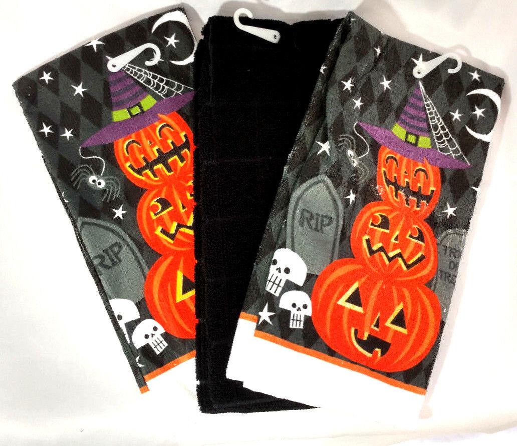 Kitchen Towels Set of 3 Halloween Orange Pumpkin Jack O Lant