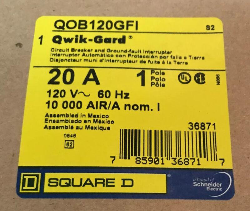 New Circuit Breaker Square D QOB120GFI  GFCI  1 Pole 20 Amp Bolt On Metal Clip