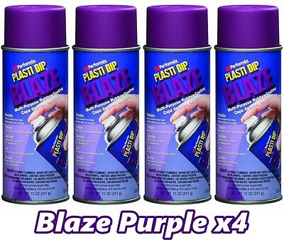 Performix Plasti Dip Blaze Purple 4 Pack Rubber Coating Spray 11oz Aerosol Cans
