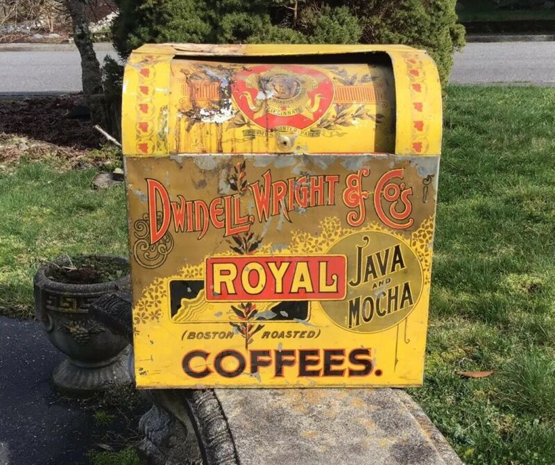Antique Dwindell Wright Royal Coffee Vtg Display Tin Grocery Store Bin Seattle