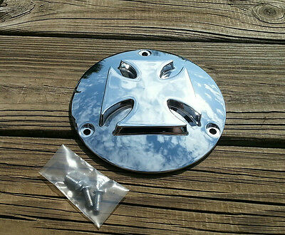(Chrome Billet Maltese Cross 3hole Derby Cover for Harley 1970-99 REDUCED was $58)
