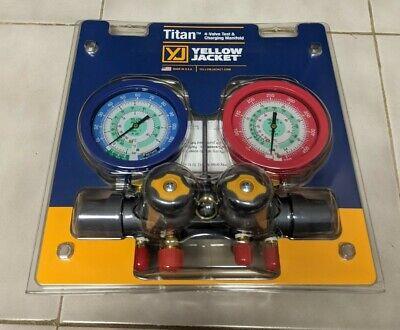 New Yellow Jacket 49922 Titan Manifold Only Liquid Gauges Barpsi R-22