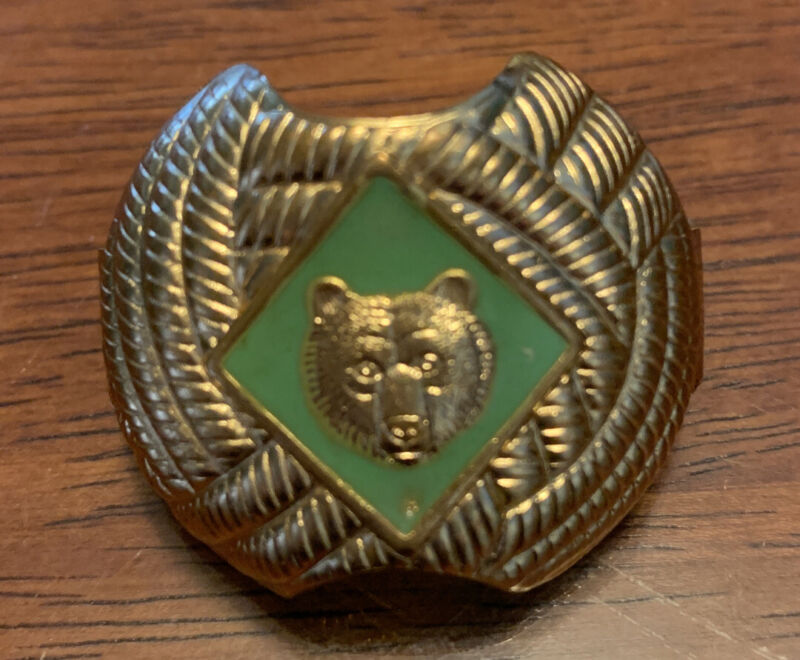 BSA-Boy Scouts of America Neckerchief/Scarf Green Bear Gold Tone Slide Cub Scout