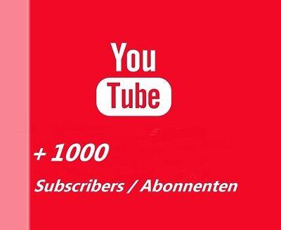 1000 Youtube Subs. / Abonnenten ( Permanent !) Channel / Kanal Promotion [+1000]