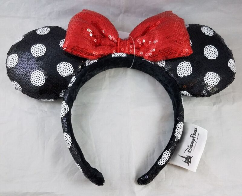 Disney Parks Minnie Mouse Bow Ears Headband Polka Dot Sequin Red Black RETIRED