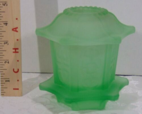 Vintage Frosted Green Glass Pagoda Fairy Lamp Candle Holder Indiana Glass