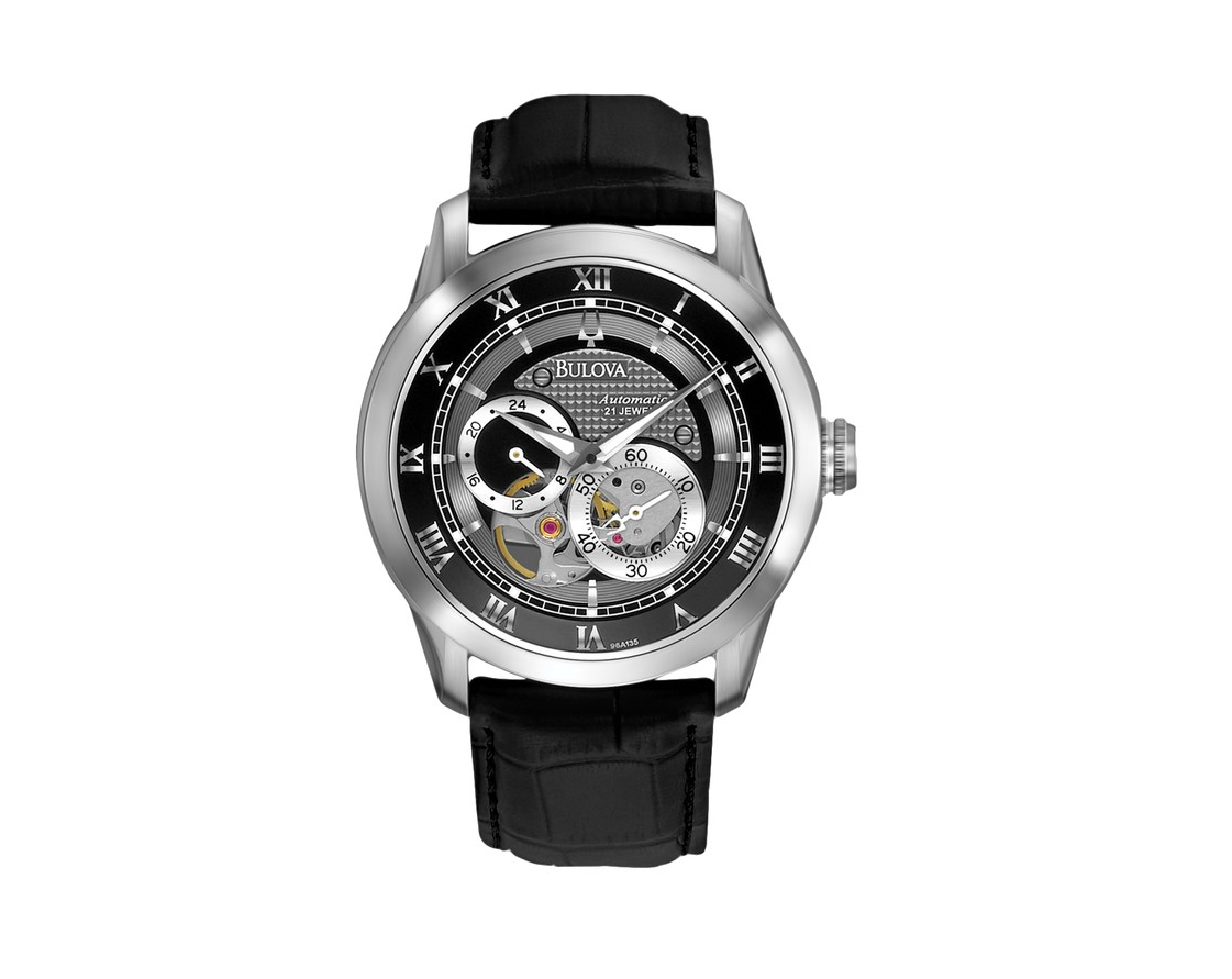 1599db3ad06 Details about Bulova Men s Automatic Open Heart Window Black Leather Strap  42mm Watch 96A135