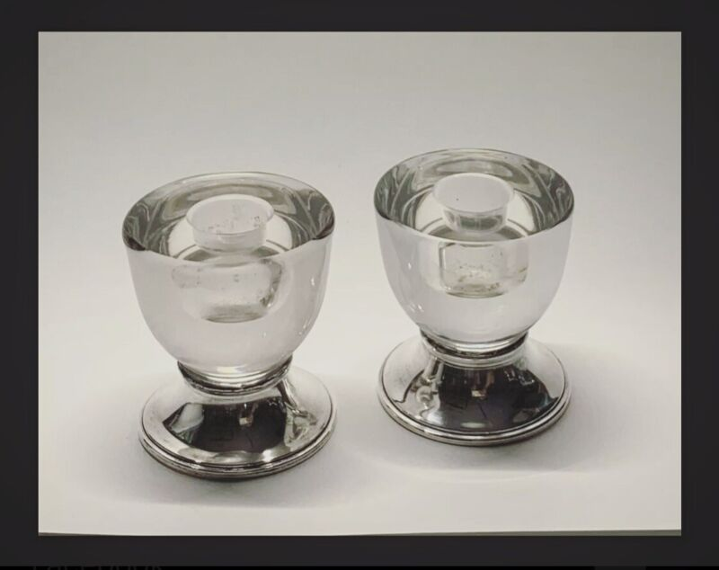 FRANK M WHITING Solid Sterling Silver & Heavy Lucite MCM Candlestick Holders